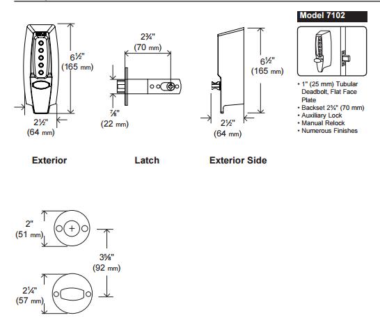 Kaba Simplex 7100 Series 7102 1 Tubular Deadbolt