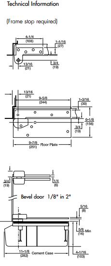 rixson model 27 2790n-lap offset floor mounted 90° door closer